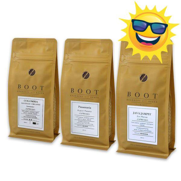 Geluk in de branding - Boot Zomerpakket Espresso - 3-delig 250 gram
